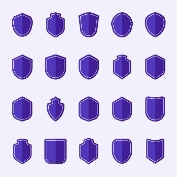 20款紫色盾牌图标图片免抠素材