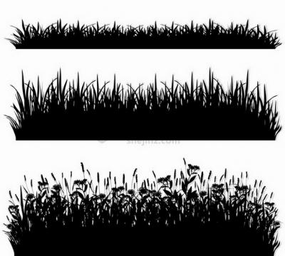 三款高度不一的草丛自然剪影png图片免抠矢量素材