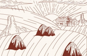 简约棕色线条农村乡村风景简笔画免抠矢量图片素材