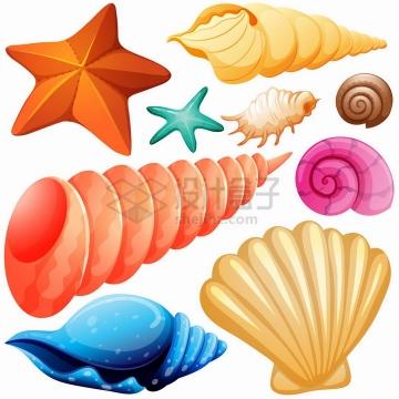 卡通风格海星海螺鹦鹉螺扇贝等海鲜海产品贝壳png图片免抠矢量素材