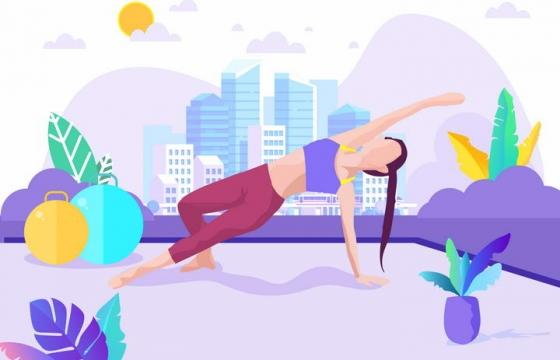 扁平化插画风格瑜伽练习插图图片免抠素材