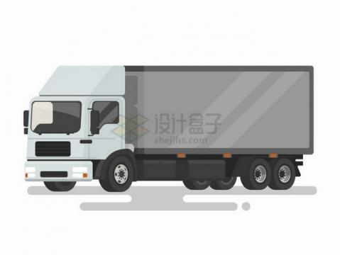 白色的卡通汽车货车扁平插画png图片免抠矢量素材
