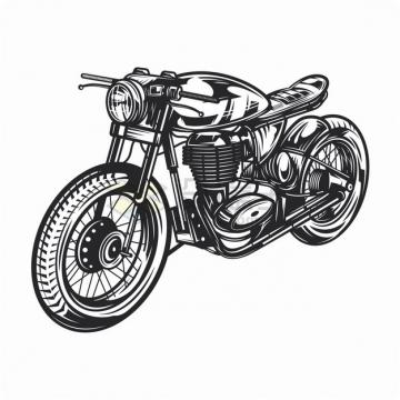 复古摩托车黑白色手绘漫画插画png图片素材