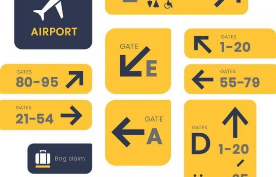 黄色机场指示标志图片免抠素材