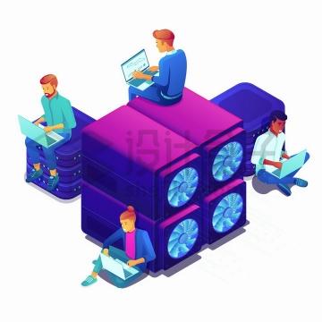 坐在紫红色云计算技术服务器上使用笔记本电脑的年轻人png图片免抠矢量素材