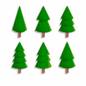 6款卡通风格雪松圣诞树免抠图片素材