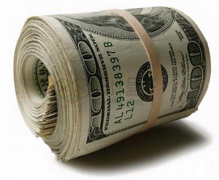橡皮筋捆起来的一卷100美元钞票纸币png图片素材