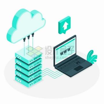 2.5D风格绿色云计算云存储技术和笔记本电脑png图片免抠矢量素材