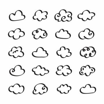 20款手绘线条风格云朵图案png图片免抠eps矢量素材