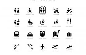 25款纯色机场服务图标图片免抠素材