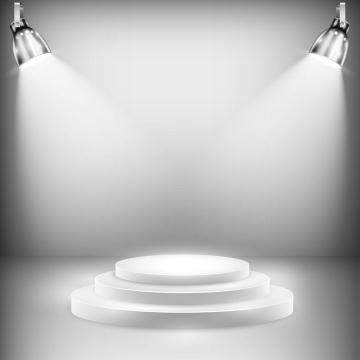 白色灯光照射的展台效果图片免抠矢量素材