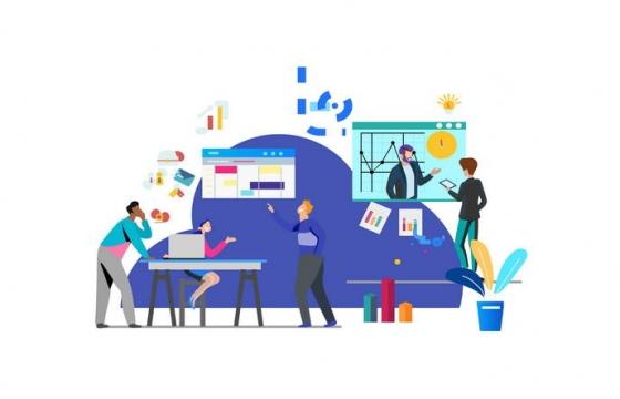 扁平化插画风格商务合作企业插图图片免抠素材