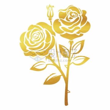 金色剪纸风格金叶子和玫瑰花花朵png图片免抠矢量素材
