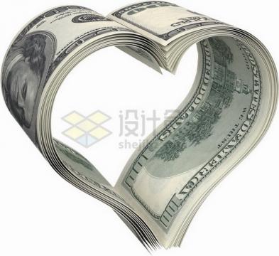 100美元钞票纸币组成心形图案png图片素材