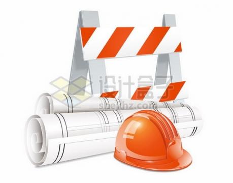 安全帽建筑工地劳保头盔和设计图纸隔离桩255879png矢量图片素材