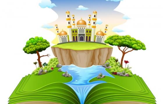 翻开书本上的立体世界绿地河流和城堡图片免抠矢量素材