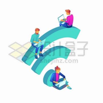 坐在立体WIFI信号符号上面使用笔记本电脑的年轻人png图片免抠矢量素材