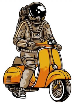 漫画风格骑电动车的宇航员图片免抠矢量素材