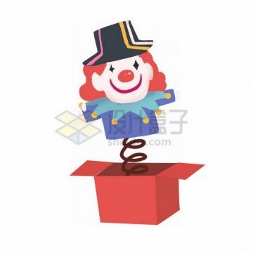 红色盒子里跳出来的愚人节小丑玩偶png免抠图片素材