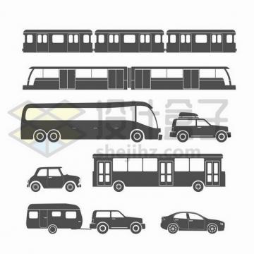 地铁长途大巴公交车等汽车侧视图png图片免抠矢量素材