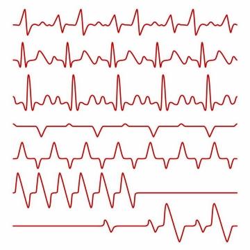 7款红色线条心电图心跳图情人节心动png图片免抠eps矢量素材