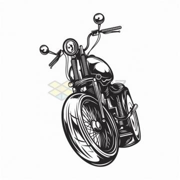 前进中的复古摩托车黑白色手绘漫画插画png图片素材