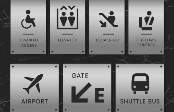 金属色背景风格机场服务指示标志图片免抠素材