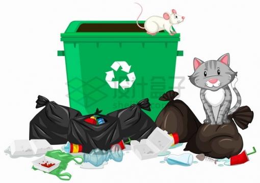 乱扔垃圾会导致老鼠泛滥png图片素材