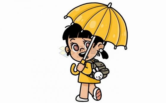 卡通小女孩打着雨伞背着书包去上学儿童插画png图片免抠矢量素材