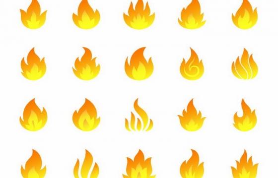 20款简约黄色橙色火焰火苗图案png图片免抠矢量素材
