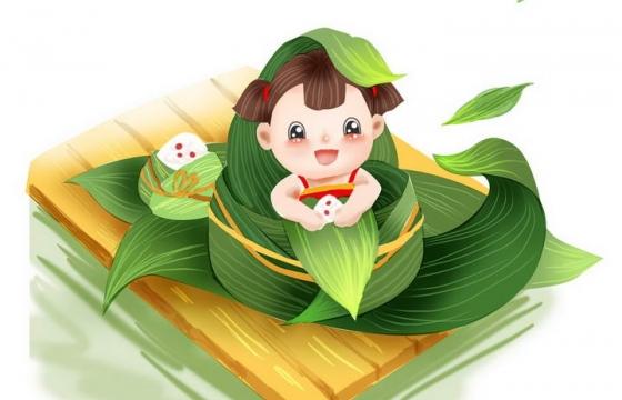 可爱卡通风格被粽叶包裹着的小女孩端午节图片免抠素材