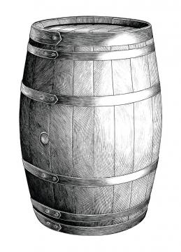黑色手绘插画风格啤酒桶葡萄酒桶红酒桶图片免抠矢量图素材