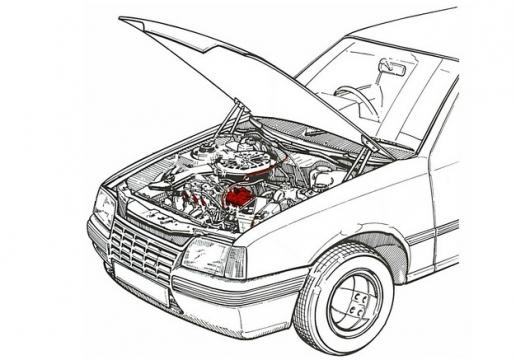 掀开的汽车引擎盖和发动机位置示意图手绘插画743174png图片免抠素材