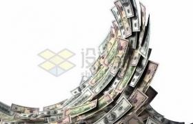 美元钞票纸币组成的海啸海浪png图片素材