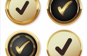 4款金色黑色的对号徽章勋章png图片免抠矢量素材