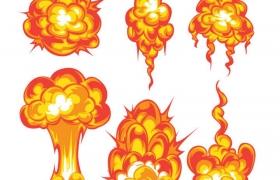 6款红色橙色的卡通漫画爆炸效果火球蘑菇云图片免抠素材