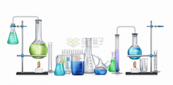 里面有彩色液体的试管量杯量筒锥形瓶烧瓶曲颈瓶等玻璃化学实验仪器png图片免抠矢量素材
