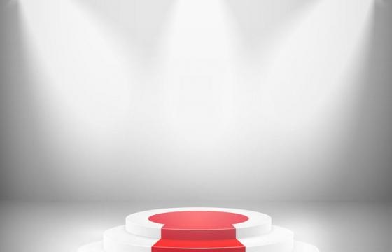 三个白色灯光射灯照射的圆形红地毯展台图片免抠矢量素材