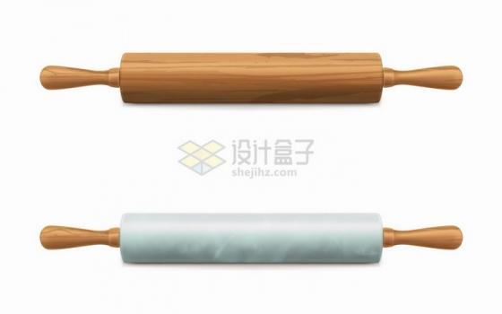 木制擀面杖和上面的面团厨房用品png图片免抠矢量素材