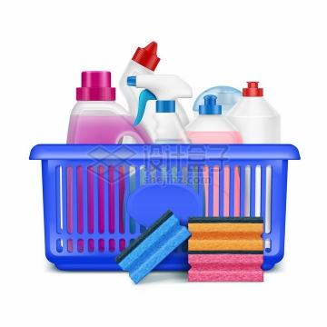 蓝色塑料篮中的洗涤剂洗洁精和海绵百洁布洗碗棉厨房清洁卫生png图片素材