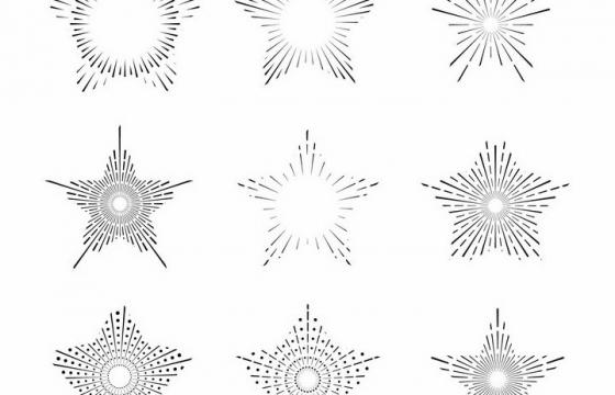 9款点线结合五角星形状放射线烟花线条图案png图片免抠矢量素材