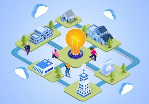 2.5D等距风格插画绿色环保智能城市插图图片免抠素材
