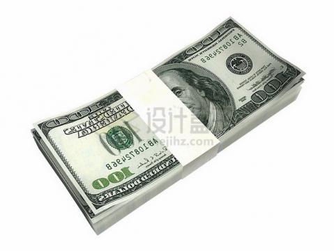 一沓100美元钞票纸币png图片素材