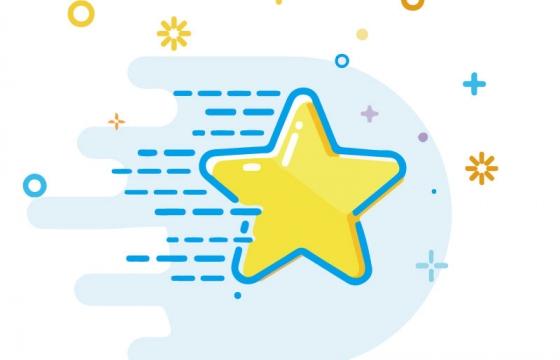 MBE风格可爱卡通黄色小星星五角星图片免抠素材