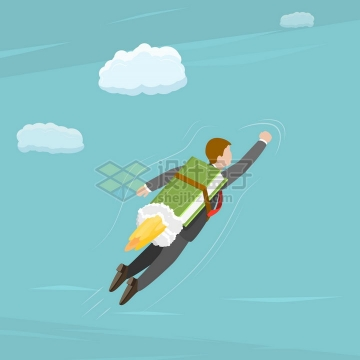 知识就是力量卡通商务人士乘着书本火箭起飞png图片免抠矢量素材