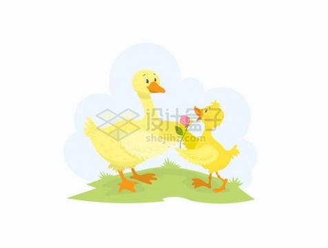 青草地上的送花两只情侣鸭子情人节png图片免抠素材