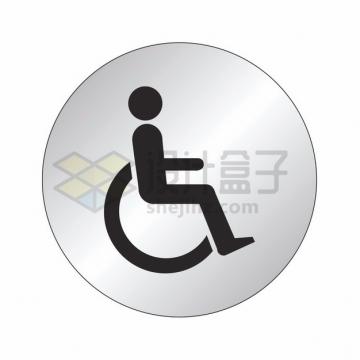 残疾人标志符号圆形金属按钮png图片素材2365768