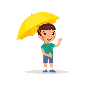 卡通可爱风格打着小黄伞的男孩儿童节图片免抠素材