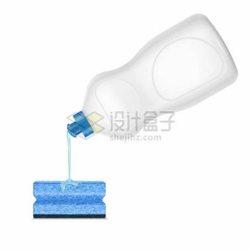 海绵百洁布洗碗棉和空白包装的洗涤剂洗洁精厨房清洁卫生png图片素材