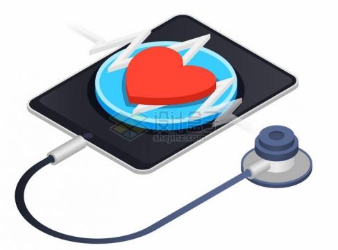 2.5D风格平板电脑上的红心和听诊器png图片免抠矢量素材